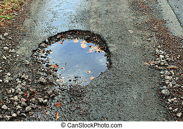 Close-up of a pothole - Close-up of a large pothole in a...