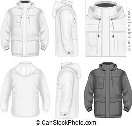 Men work hooded jacket. Vector illustration