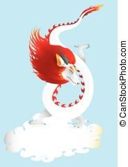 Dragon in the sky with cloud vector - White dragon in the...