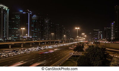 traffic jam on the Sheikh Zayed Rd - time lapse photography,...