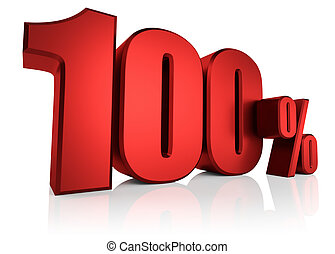 Red 100 Percent - Red 100 percent on white background. 3d...