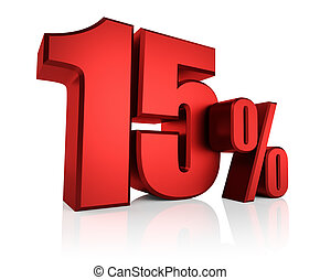 Red 15 Percent - Red 15 percent on white background. 3d...