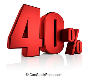 Red 40 Percent - 40 percent on white background 3d render...