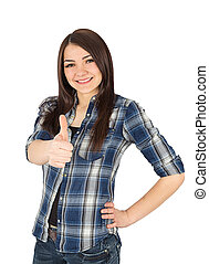 woman thumbs up isolated on white background