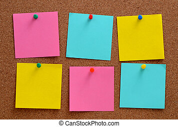 Blank notes pinned into brown corkboard - Blank, colourful...