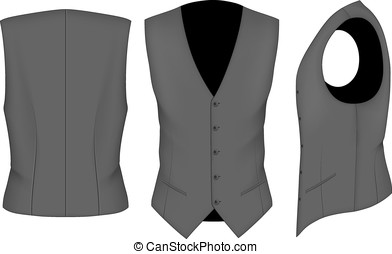 Men waistcoat for business men. Formal work wear. Vector