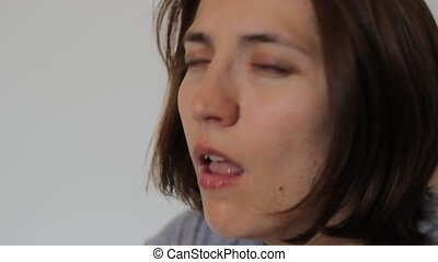 Woman Coughs - Sick woman with flu coughs because and have...