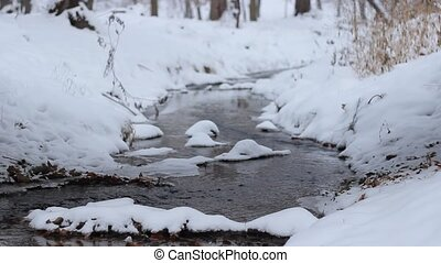 Winter Small River Flowing - Wintry landscape with a small...
