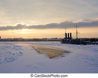 winter morning - winter Neva with the Cruiser Aurora at quay