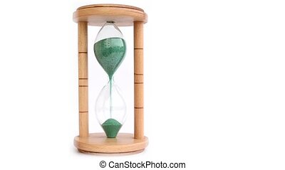 Wood Hourglass on White Background - A wood made hourglass...