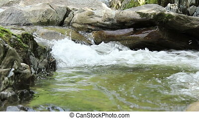 Water Stream Foamy Whirlpool - A vivid cold fresh river...