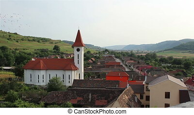 Village Church View - A view from heights of a beautiful...