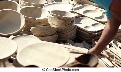 Wooden Vessels - Plates, dishes and spoons of various sizes...