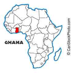 Ghana outline inset into a map of Africa over a white...