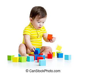 嬰孩, 男孩, 木頭, 玩, 玩具
