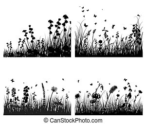 grass on water - Grass silhouettes background with...