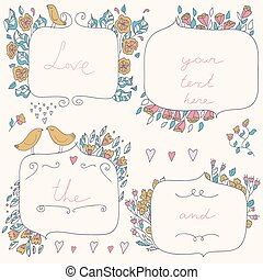 Vector romantic set of floral frame