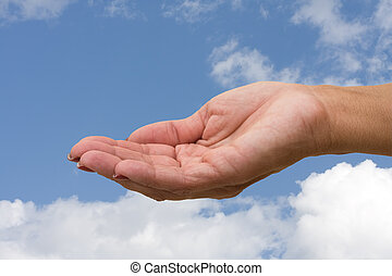 Holding Hands - A hand ready to hold something on a sky...