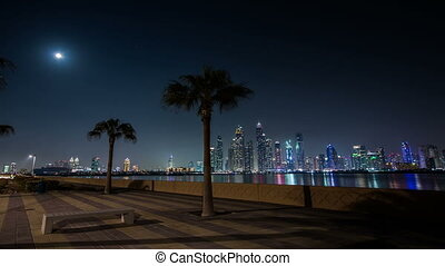 night view of Dubai skyscraper in United Arab Emirates UAE,...