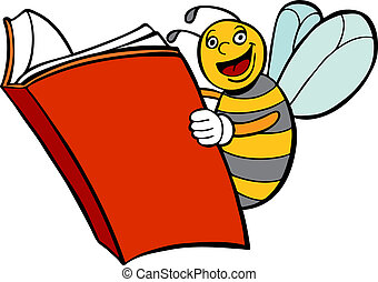 Bee Reading Book vector illustration image scalable to any...