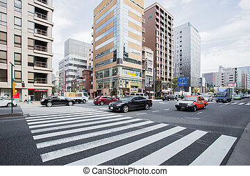 crosswalk - Crosswalk in the city Have a building is...