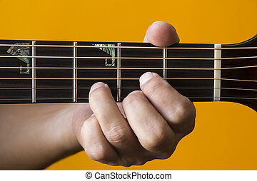 D chord on guitar - Hand performing D chord on guitar