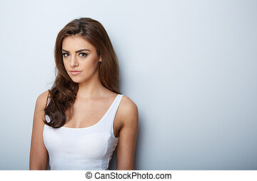 Beautiful Woman Portrait Beauty Girl Fresh SkinIsolated on a...