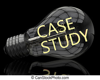Case Study - lightbulb on black background with text in it....