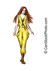 Fashion show - Abstract vector fashion girl Model showing...