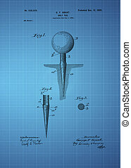 Golf Tee Patent 1899, Vintage patent artwork great...