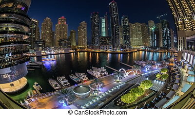 city life at Dubai Marina - time lapse photography, city...