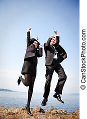 Happy business people - A shot of two happy business...