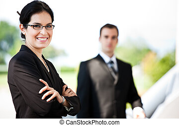 Business people - A shot of two happy business people...
