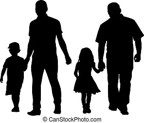 parents - silhouettes of dads and daughters