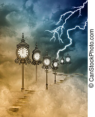 Fantasy landscape with clocks and path in the sky