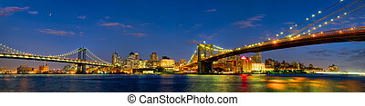 Manhattan and Brooklyn Bridges panorama