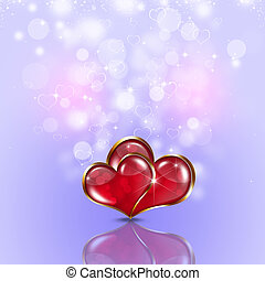 Two Hearts Bright Holiday Background