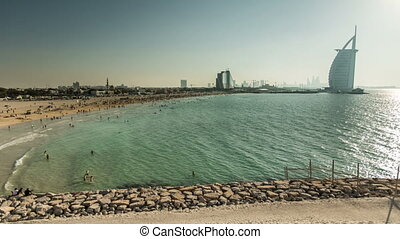 crowd in Jumeirah Beach - time lapse photography, time lapse...