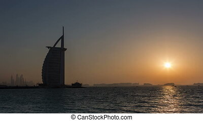 Burj Al Arab at sunset - time lapse photography, Burj Al...