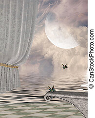 Fantasy landscape - Fantasy Landscape in a lake with curtain