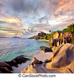 Anse Source d'Argent beach at sunset, La Digue Island,...