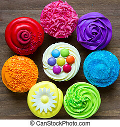 Colorful cupcakes in a circle