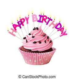 Happy birthday cupcake - Pink cupcake decorated with...