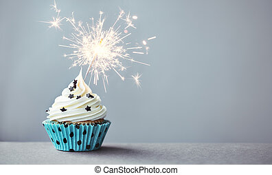 Cupcake with a sparkler - Cupcake decorated with a sparkler