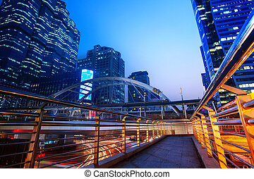 beautiful lighting city scape of skyline office building in...