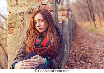 Park woman sadness autumn loneliness