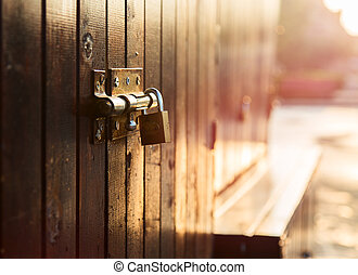 puerta, cerradura,
