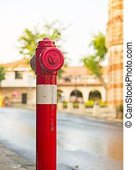 hydrant city fire red white