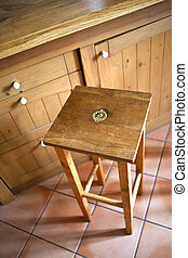 Stool - Wooden stool in a kitchen