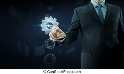 Business man success gear team work concept - Business man...